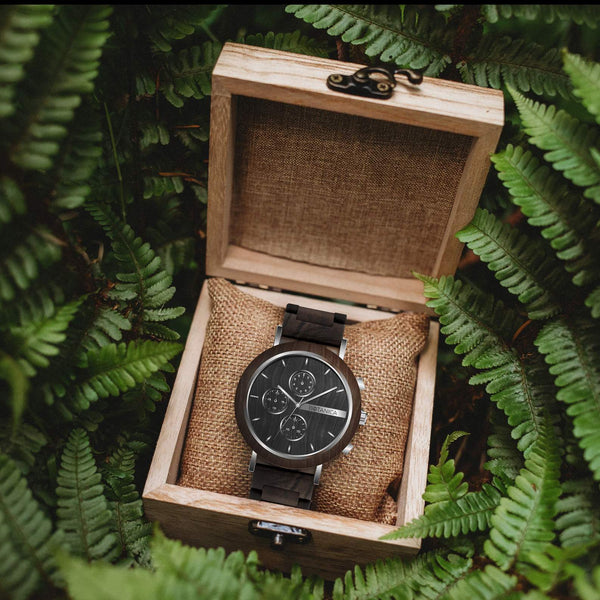 Iris Botanica Wooden Watch - Woodlink & Steel Strap