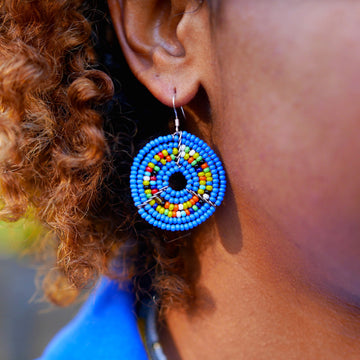 Blue Sapphire Kifaru Circle Earrings
