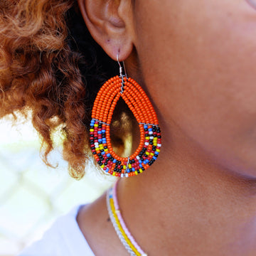 Orange Tembo Teardrop Earrings