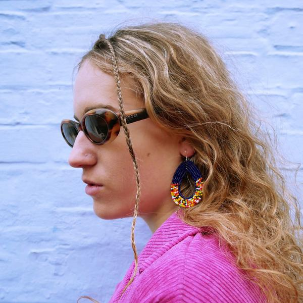 Dark Blue Tembo Teardrop Earrings