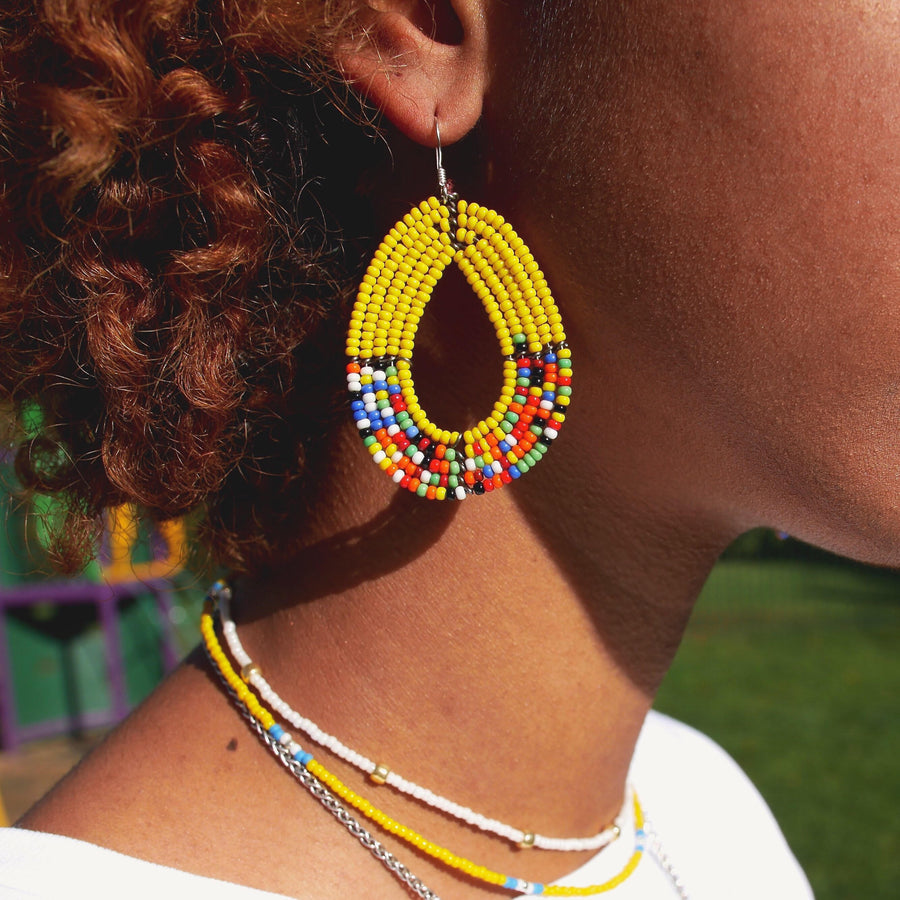 Yellow Tembo Teardrop Earrings