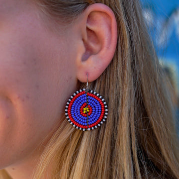 Blue & Red Kifaru Circle Earrings