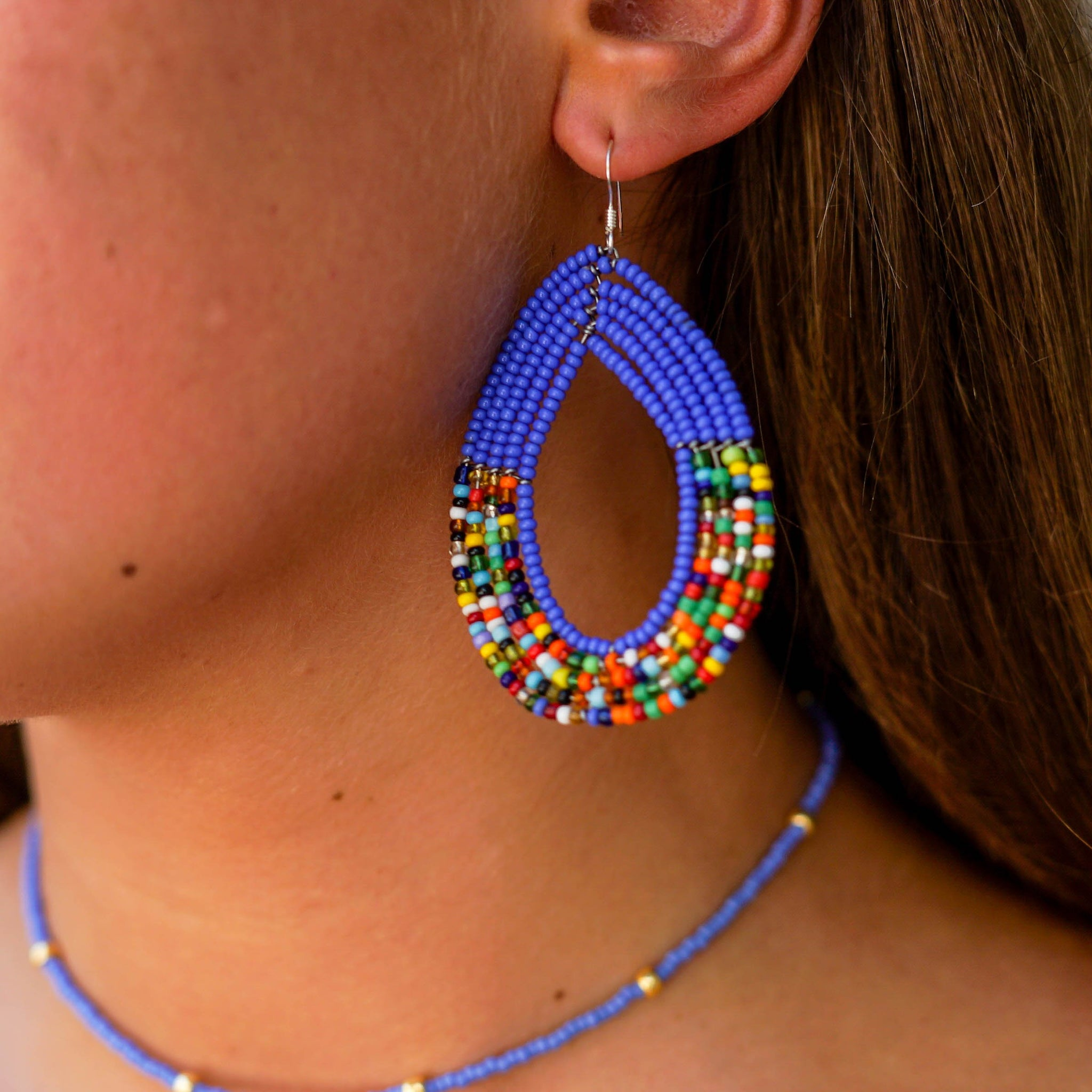Blue Sapphire Tembo Teardrop Earrings