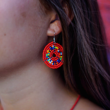Red Kifaru Circle Earrings