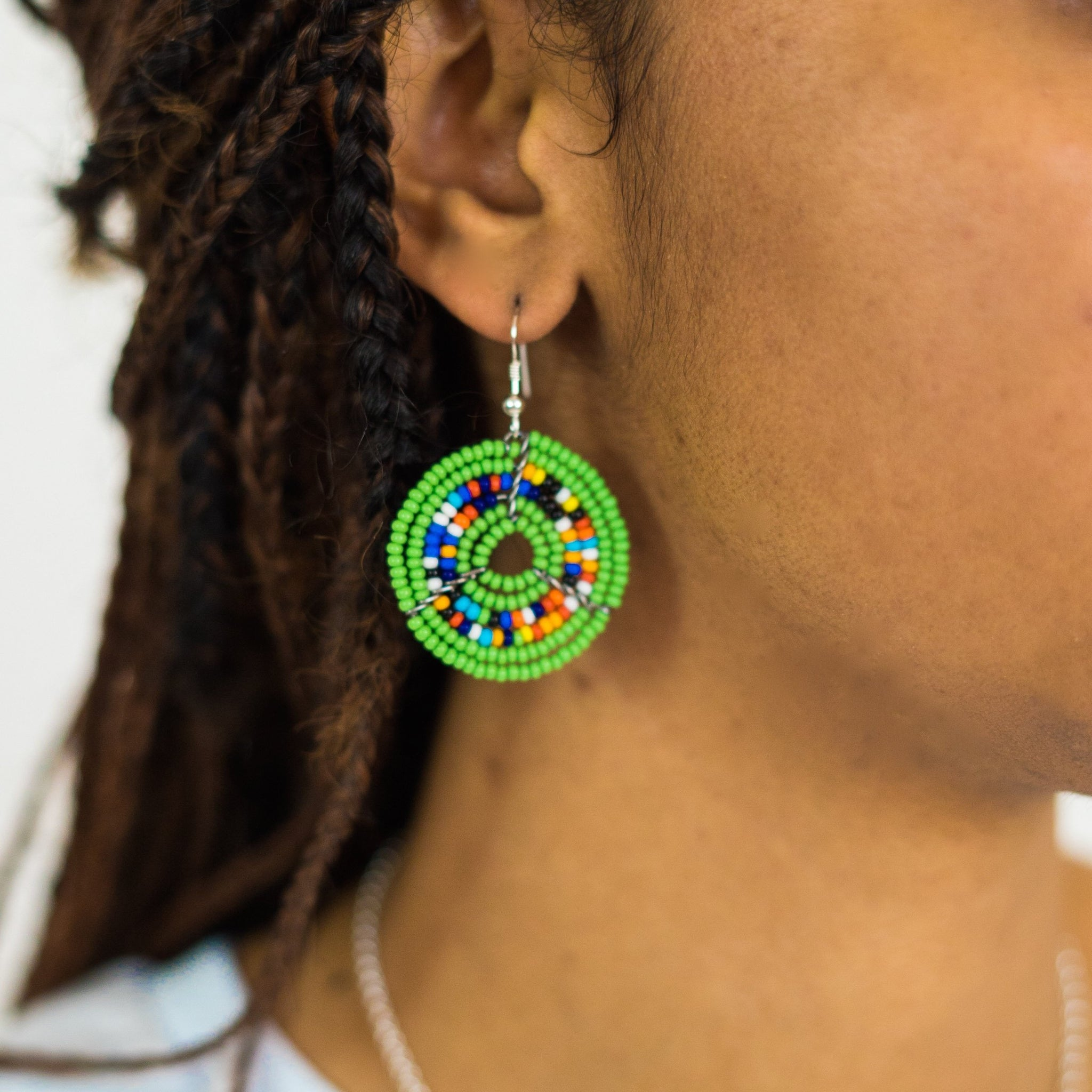 Green Kifaru Circle Earrings