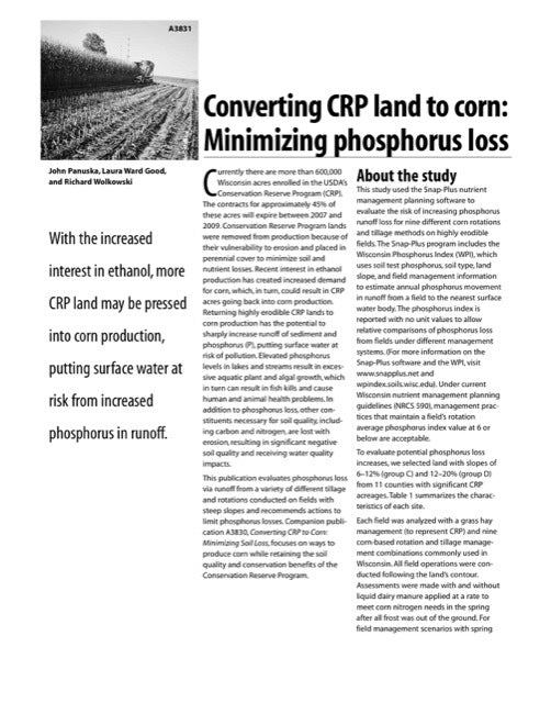 Converting CRP Land to Corn: Minimizing Phosphorus Loss