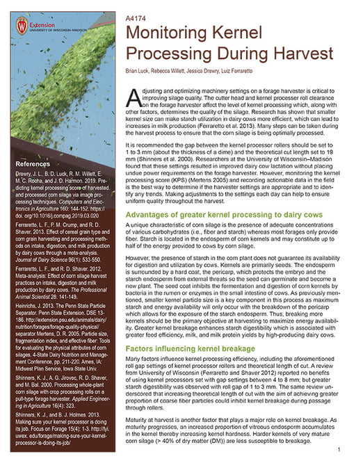 Monitoring Kernel Processing During Harvest