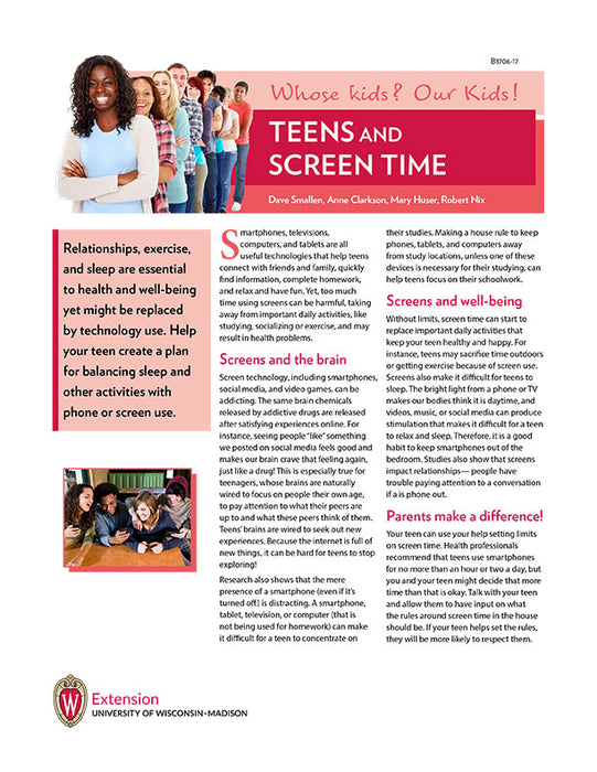 Whose Kids? Our Kids! Teens and Screen Time