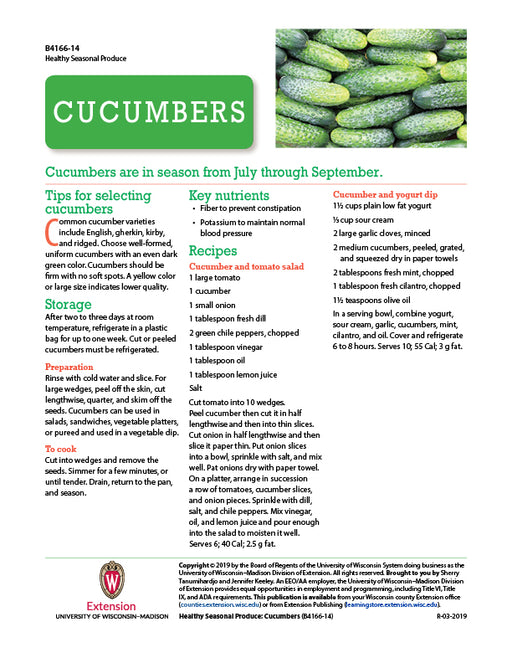 Healthy Seasonal Produce: Cucumbers