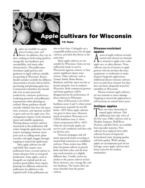 Apple Cultivars for Wisconsin