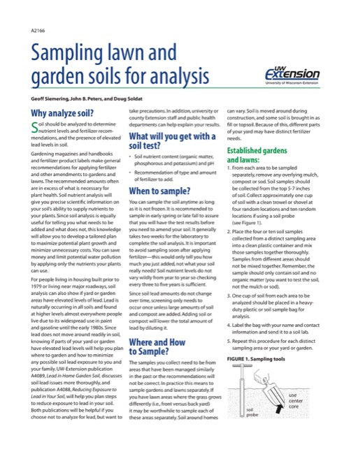 Sampling Lawn and Garden Soils for Analysis