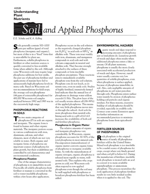 Understanding Plant Nutrients: Soil and Applied Phosphorus