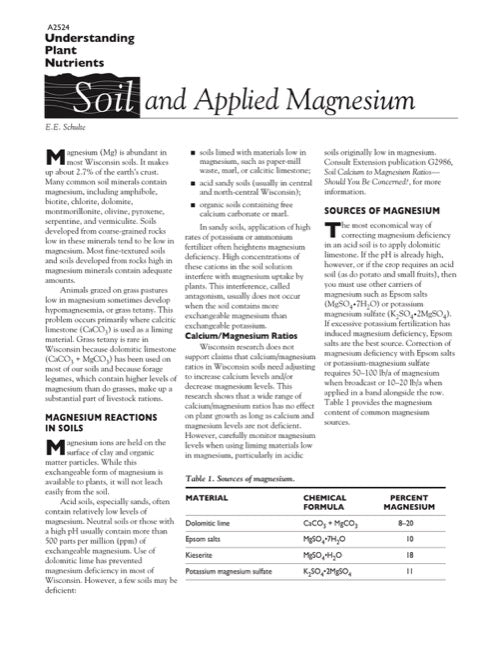Understanding Plant Nutrients: Soil and Applied Magnesium