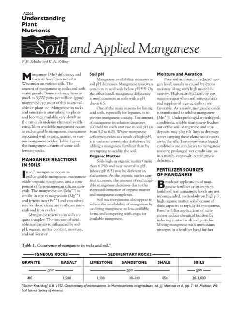 Understanding Plant Nutrients: Soil and Applied Manganese