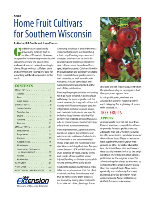 Home Fruit Cultivars for Southern Wisconsin