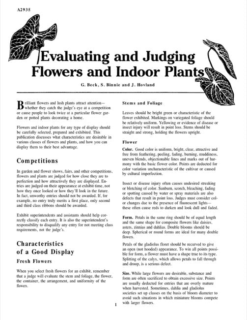 Evaluating and Judging Flowers and Indoor Plants