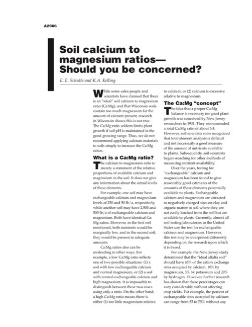Soil Calcium to Magnesium Ratios—Should You be Concerned?