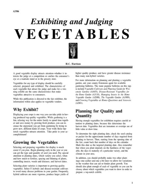 Exhibiting and Judging Vegetables