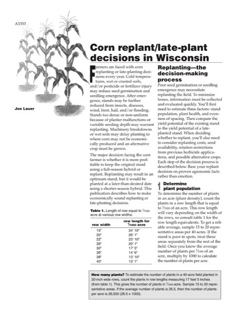 Corn Replant/Late-Plant Decisions in Wisconsin