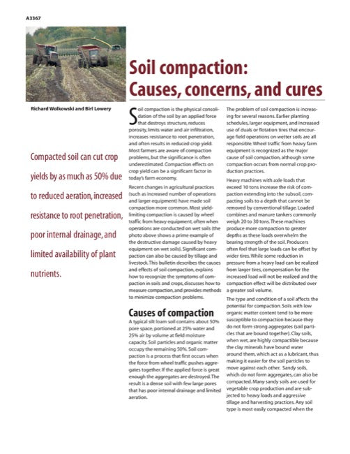 Soil Compaction: Causes, Concerns, and Cures