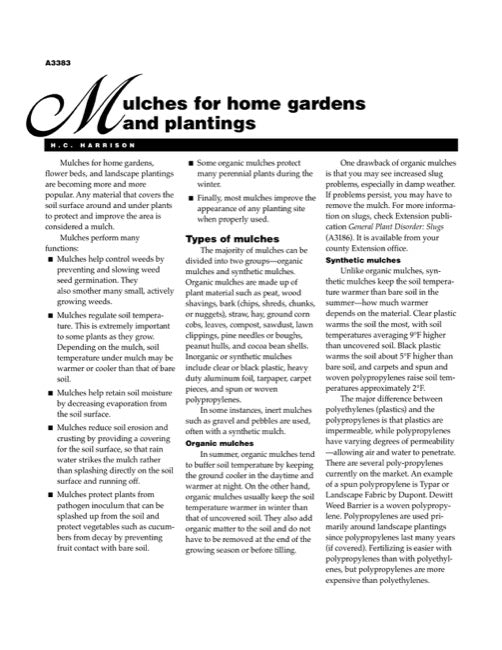 Mulches for Home Gardens and Plantings