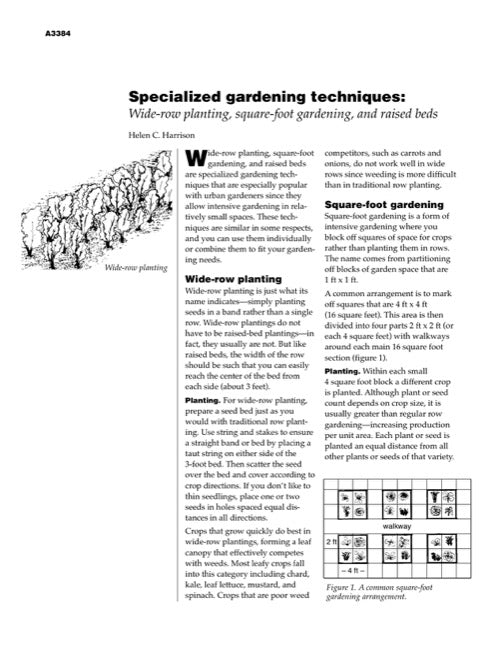 Specialized Gardening Techniques: Wide-Row Planting, Square-Foot Gardening and Raised Beds