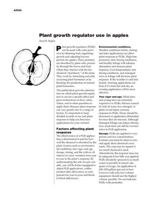 Plant Growth Regulator Use in Apples