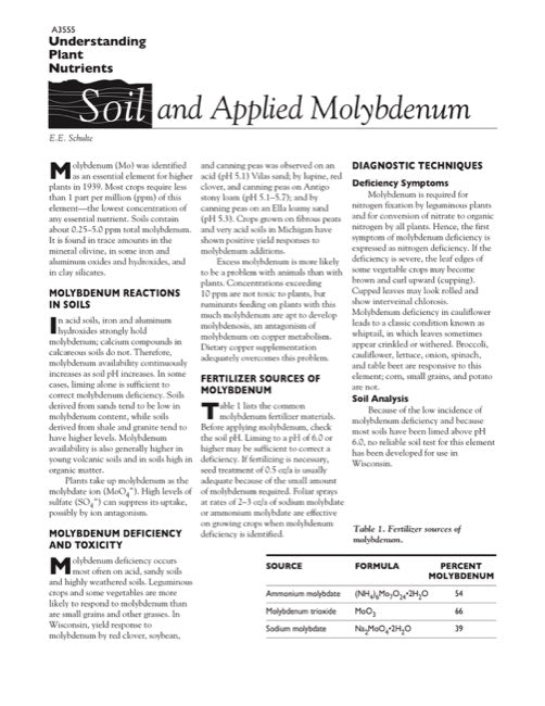 Understanding Plant Nutrients: Soil and Applied Molybdenum
