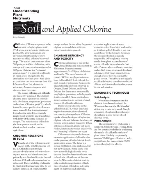 Understanding Plant Nutrients: Soil and Applied Chlorine