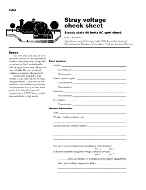 Stray Voltage Check Sheet: Steady State 60 hertz AC Spot Check
