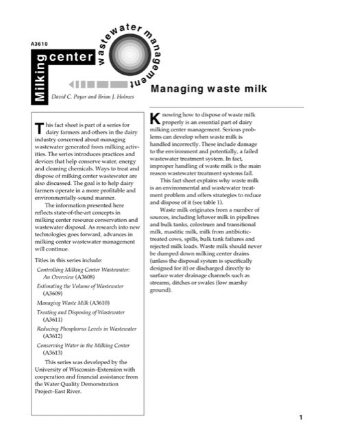 Managing Waste Milk