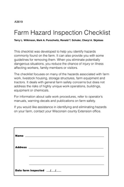 Farm Hazard Inspection Checklist