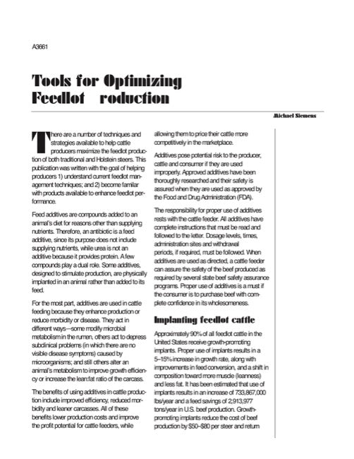 Tools for Optimizing Feedlot Production