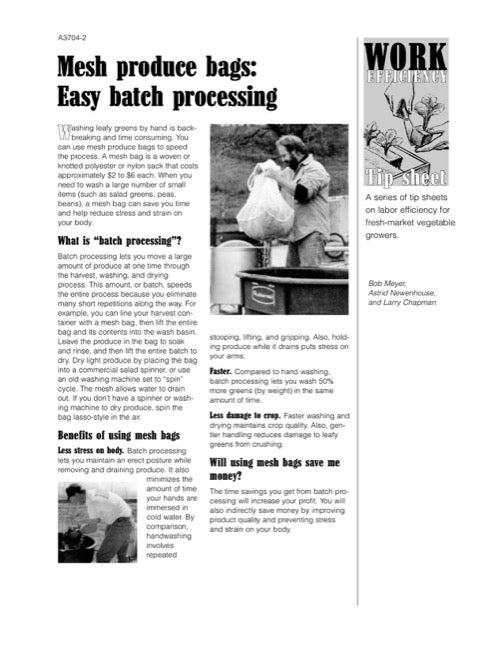 Work Efficiency Tip Sheet: Mesh Produce Bags: Easy Batch Processing