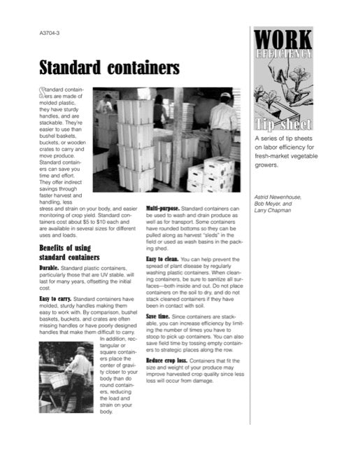 Work Efficiency Tip Sheet: Standard Containers