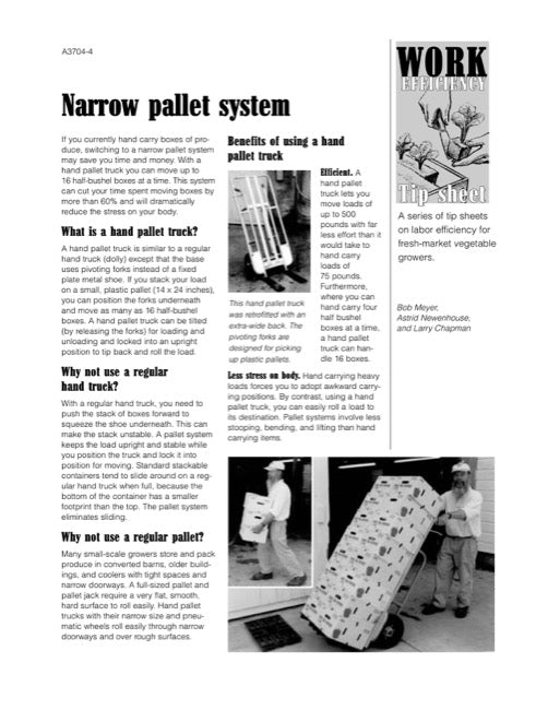 Work Efficiency Tip Sheet: Narrow Pallet System