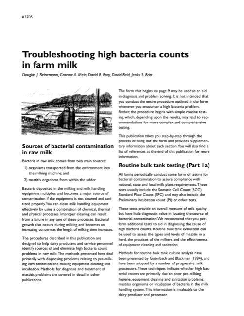 Troubleshooting High Bacteria Counts in Farm Milk