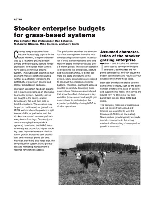 Stocker Enterprise Budgets for Grass-Based Systems
