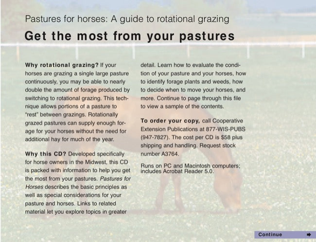 Pastures for Horses: A Guide to Rotational Grazing—CD