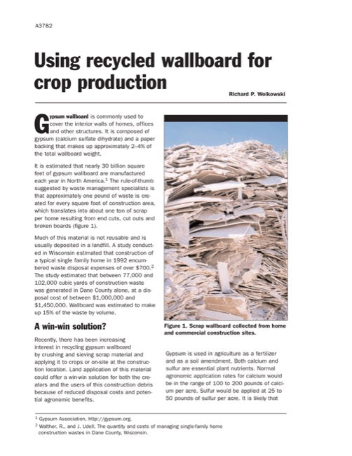 Using Recycled Wallboard for Crop Production
