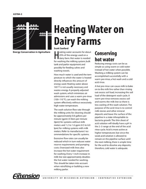 Heating Water on Dairy Farms