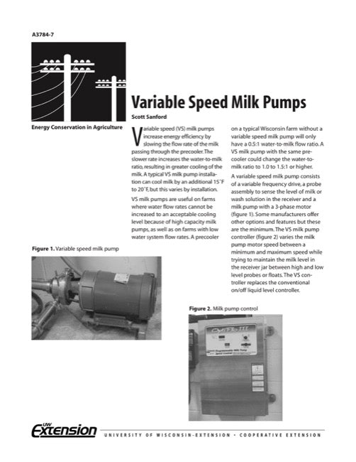 Variable Speed Milk Pumps
