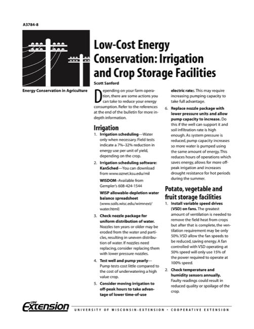Low-Cost Energy Conservation: Irrigation and Crop Storage Facilities