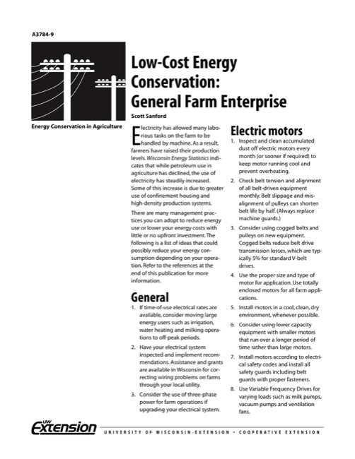 Low-Cost Energy Conservation: General Farm Enterprise