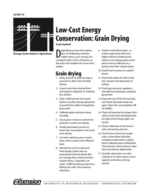 Low-Cost Energy Conservation: Grain Drying