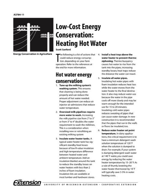 Low-Cost Energy Conservation: Heating Hot Water