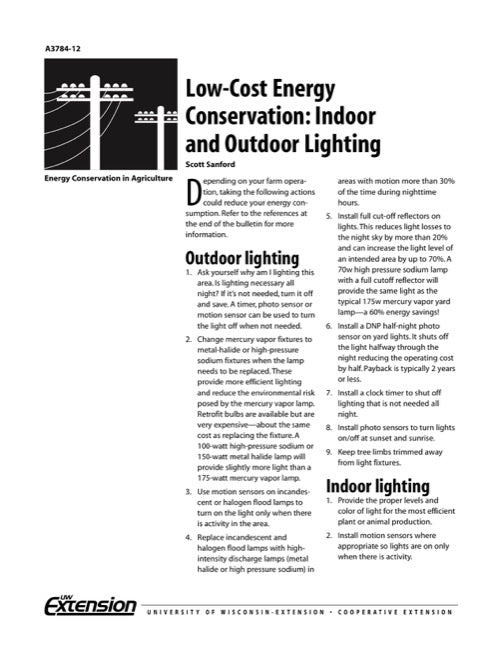 Low-Cost Energy Conservation: Indoor and Outdoor Lighting