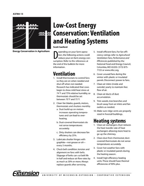 Low-Cost Energy Conservation: Ventilation and Heating Systems