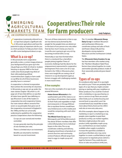 Direct Marketing: Cooperatives: Their Role for Farm Producers