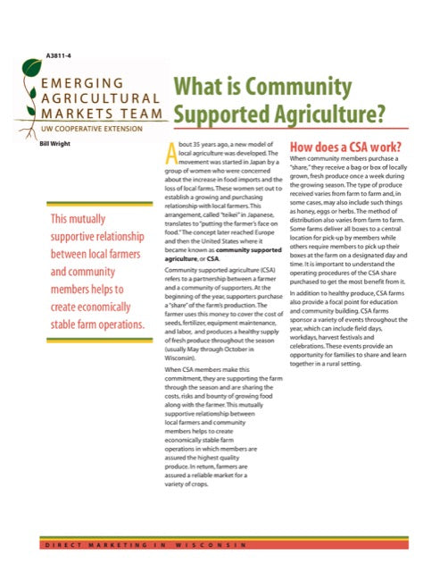 Direct Marketing: What is Community Supported Agriculture?
